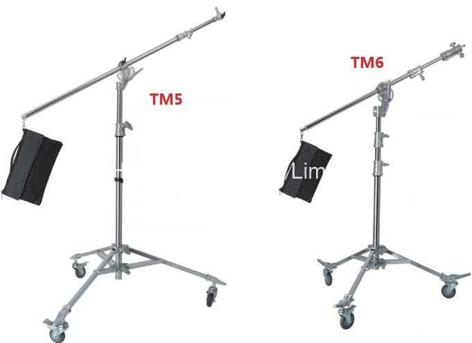 Photography Video Tripod Light Stand , Universal Sandbag Live Boom Stand With Tilt Arm